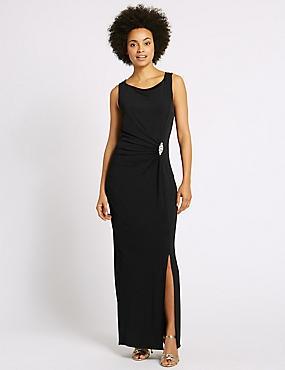 Jewelled Drape Waist Tie Back Midi Dress, BLACK, catlanding