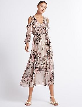 Floral Print Cold Shoulder Maxi Dress, BLUSH PINK, catlanding