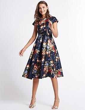 Rose Jacquard Print Skater Midi Dress, NAVY MIX, catlanding