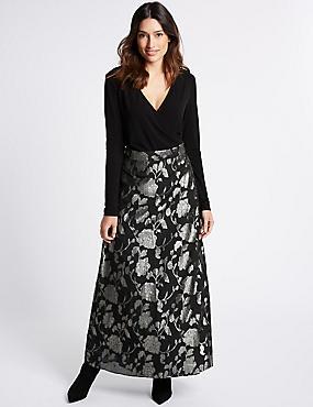 Jacquard Wrap Flock Maxi Dress, BLACK MIX, catlanding