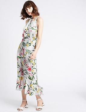 Floral Print Slip Maxi Dress, MULTI, catlanding