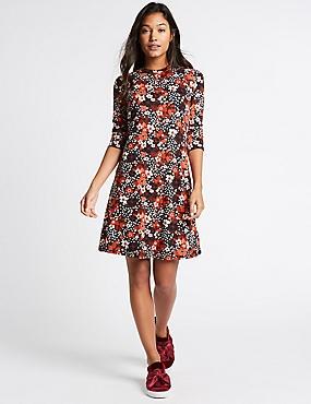 Floral Print 3/4 Sleeve Swing Dress, BLACK MIX, catlanding