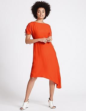 Asymmetric Tie Sleeve Swing Midi Dress, RED, catlanding