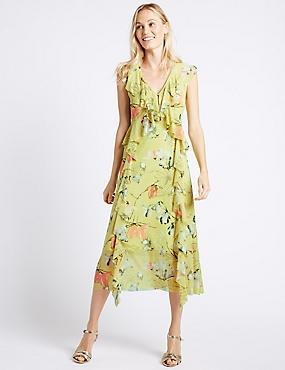 Floral Print Mesh Swing Midi Dress, LIME GREEN, catlanding
