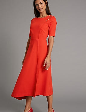 Asymmetrical Hem Tunic Midi Dress, POPPY, catlanding
