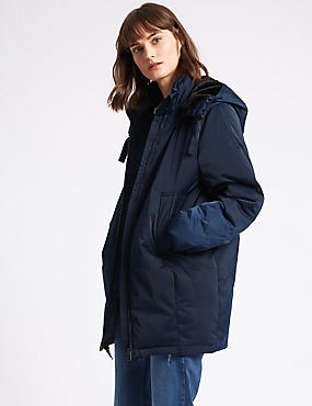 Faux Fur Hooded Padded Jacket, NAVY, catlanding