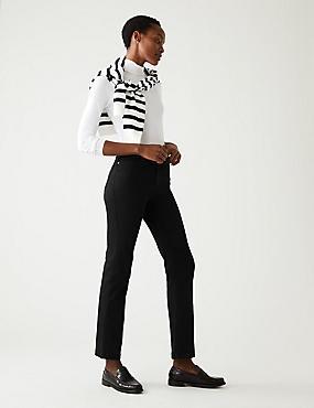 Sateen Roma Rise Straight Leg Jeans, BLACK, catlanding