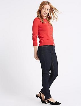 PETITE Mid Rise Skinny Leg Jeans, INDIGO MIX, catlanding