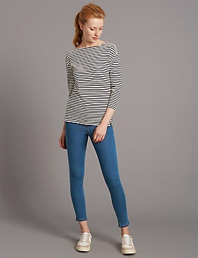 High Rise Cropped Skinny Leg Jeans, LIGHT INDIGO, catlanding