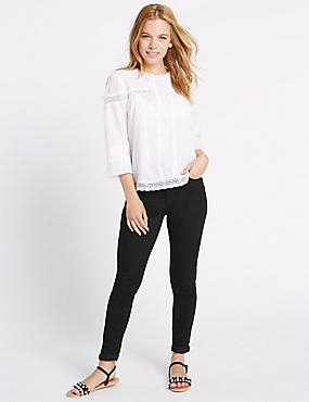 PETITE Mid Rise Super Skinny Jeans, BLACK, catlanding