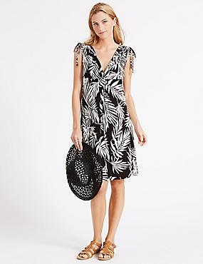 Palm Leaf Print Vest Dress, BLACK MIX, catlanding