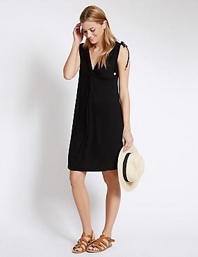 Knot Front Sleeveless Beach Dress, BLACK, catlanding