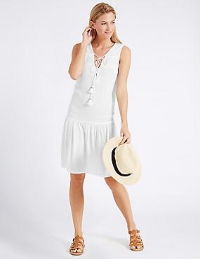 Crinkle Woven Vest Dress, WHITE, catlanding
