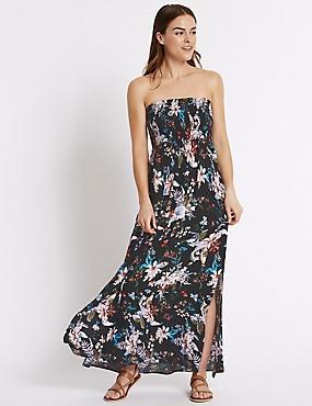Floral Print Shirred Maxi Dress, BLACK MIX, catlanding