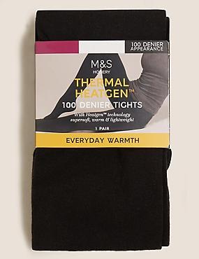 100 Denier Heatgen™ Opaque Tights , BLACK, catlanding