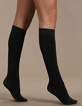 180 Denier Heatgen Plus™ Thermal Knee Highs, BLACK, catlanding