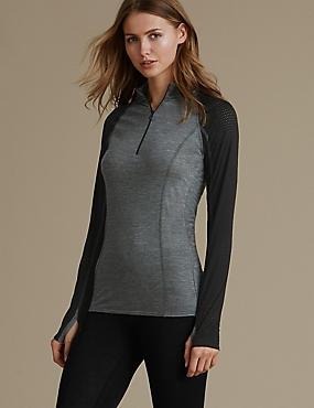 Long Sleeve Zip Neck Thermal Top with Merino Wool, BLACK MIX, catlanding