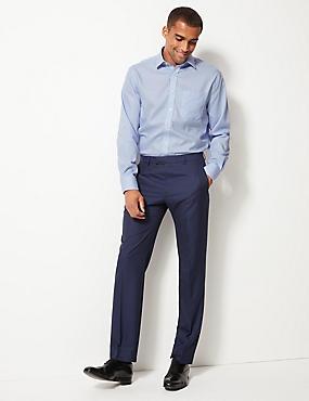 Pure Cotton Non-Iron Shirt with Pocket, BLUE, catlanding
