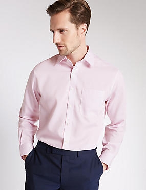 Pure Cotton Non-Iron Shirt with Pocket, LIGHT PINK, catlanding