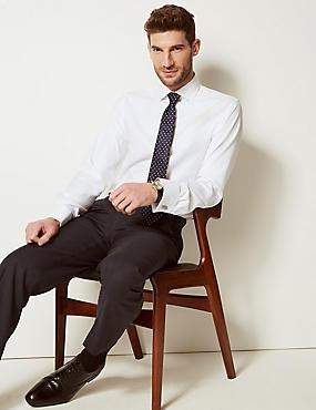 Pure Cotton Non-Iron Slim Fit Shirt, WHITE, catlanding