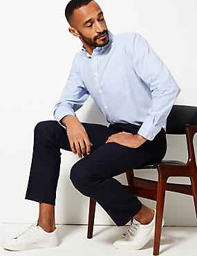 Pure Cotton Oxford Shirt with Pocket , SKY, catlanding