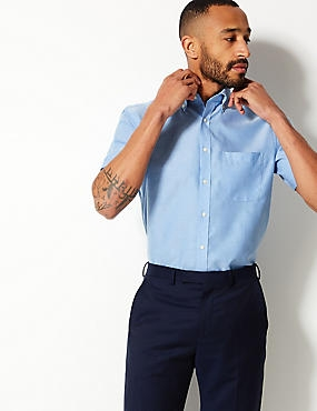 Pure Cotton Oxford Shirt with Pocket, CORNFLOWER, catlanding