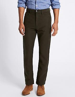 Regular Fit Pure Cotton Jean Style Trousers, , catlanding