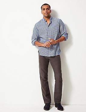 Pure Cotton Regular Fit Moleskin Trousers, GREY, catlanding