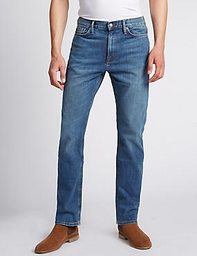 Big & Tall Straight Fit Stretch Jeans, MID BLUE, catlanding