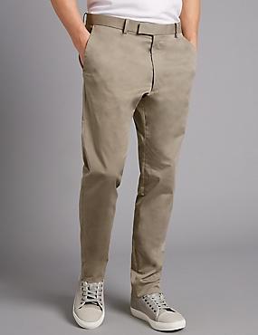 Slim Fit Stretch Cotton Chinos, STONE, catlanding