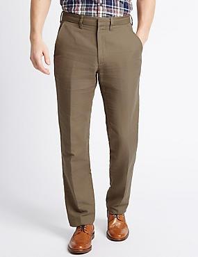 Big & Tall Tailored Linen Blend Trousers, PUTTY, catlanding