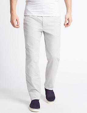 Straight Fit Cotton Rich Trousers, LIGHT GREY, catlanding