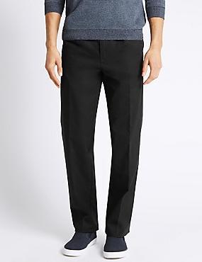 Regular Fit Pleated Chinos with Stormwear™, BLACK, catlanding