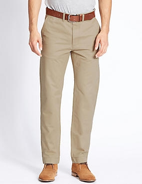 Straight Fit Chinos with Belt, STONE, catlanding