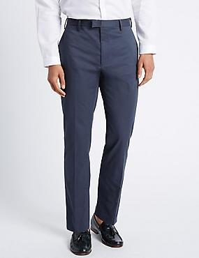 Slim Fit Pure Cotton Trousers with Stretch, NAVY, catlanding