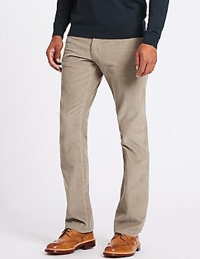Straight Fit Corduroy Trousers, STONE, catlanding