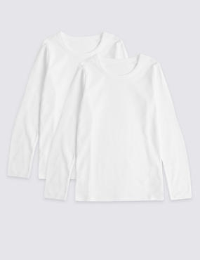 Pure Cotton Long Sleeve Vests (18 Months - 16 Years), WHITE, catlanding