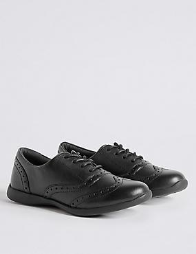 Kids' Brogue School Shoes with Freshfeet™, BLACK, catlanding