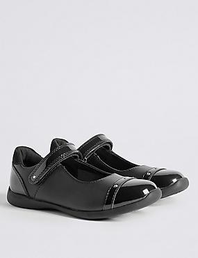 Kids' Cross Bar School Shoes with Freshfeet™, BLACK, catlanding