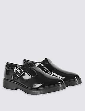Kids' T-Bar School Shoes with Freshfeet™, BLACK, catlanding