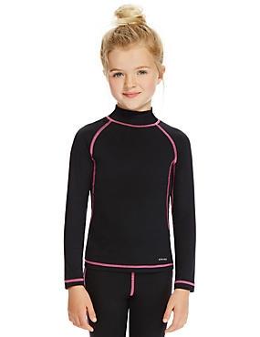 Girls' Base Layer Long Sleeve T-Shirt, BLACK, catlanding