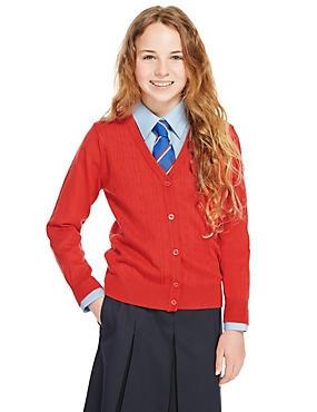 Girls' Cotton Rich Cardigan, RED, catlanding