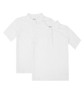 2 Pack Girls' Pure Cotton Polo Shirts, WHITE, catlanding