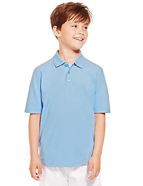 2 Pack Boys' Pure Cotton Polo Shirts, BLUE, catlanding