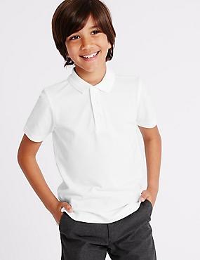 2 Pack Boys' Pure Cotton Polo Shirts, WHITE, catlanding