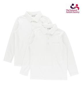 2 Pack Unisex Pure Cotton Polo Shirts, WHITE, catlanding