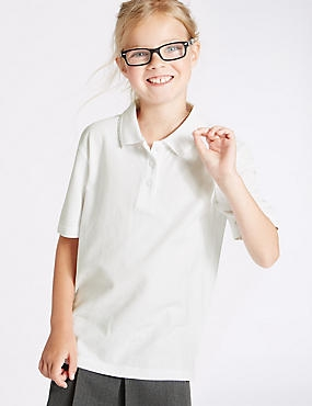 3 Pack Girls' Pure Cotton Polo Shirts, WHITE, catlanding