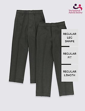 2 Pack Boys' Easy Dressing Trousers, GREY, catlanding