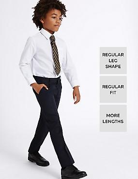 Boys' Longer Length Straight Leg Trousers, NAVY, catlanding