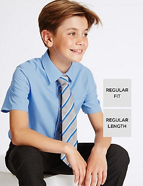 2 Pack Boys' Easy to Iron Shirts, BLUE, catlanding
